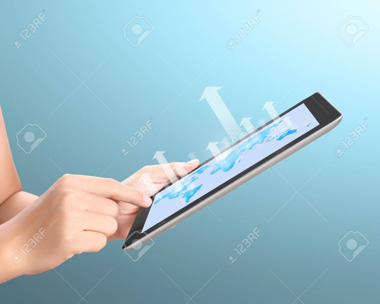 Holding Touch Screen Tablet And Shows Tablet In Hand With Graph