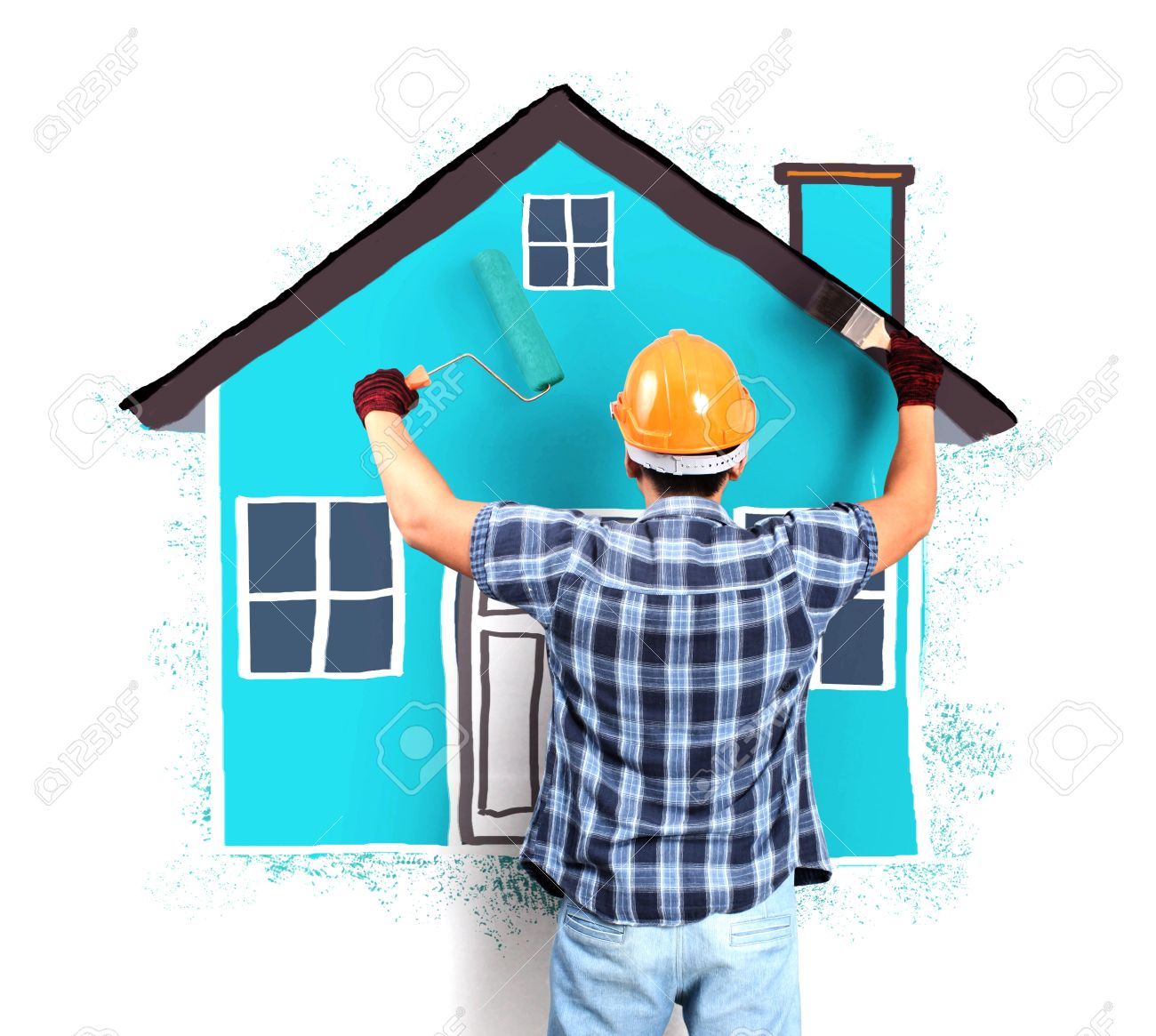 Paint House man decorating or painting house with a paint brush stock photo