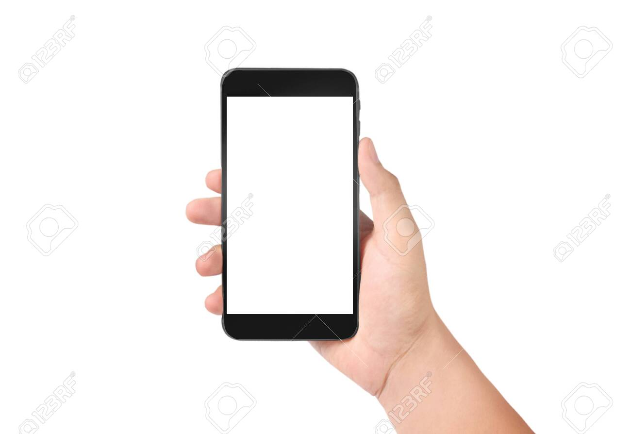 Man hand holding smartphone device and touching screen - 128219795