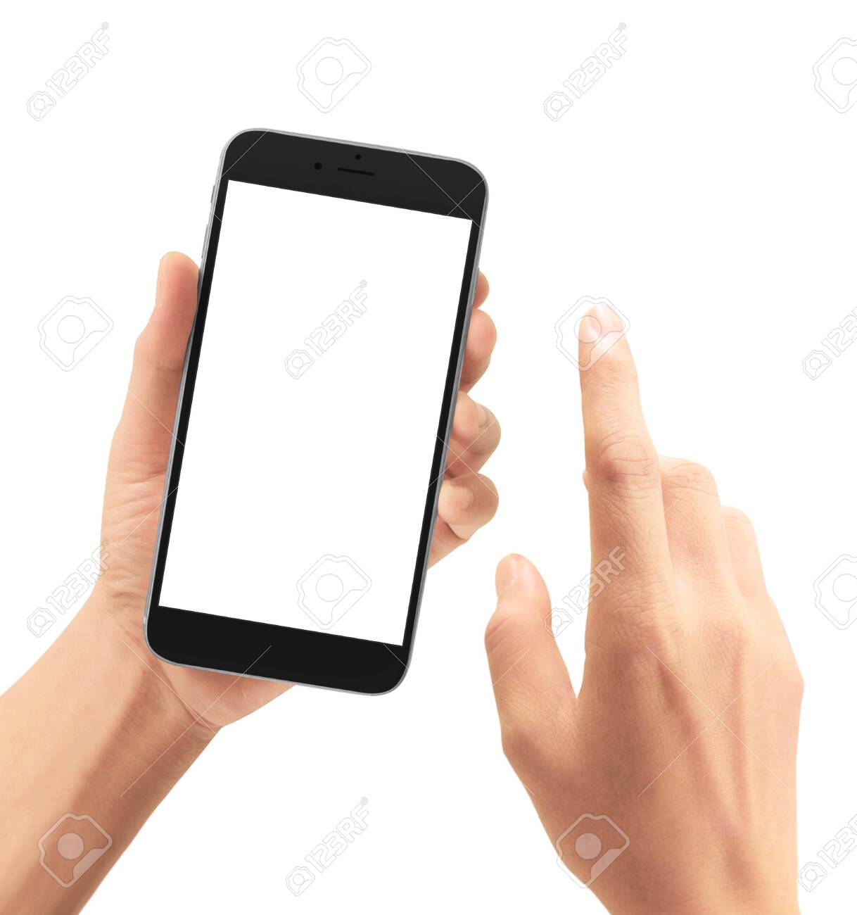 Hand holding smartphone device and touching screen - 129071612