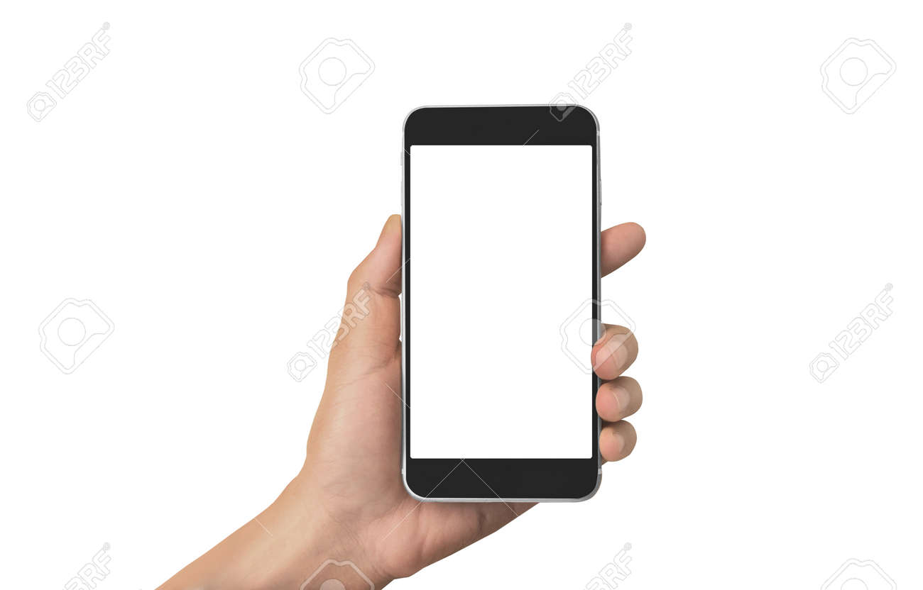Hand holding smartphone device and touching screen - 169906492