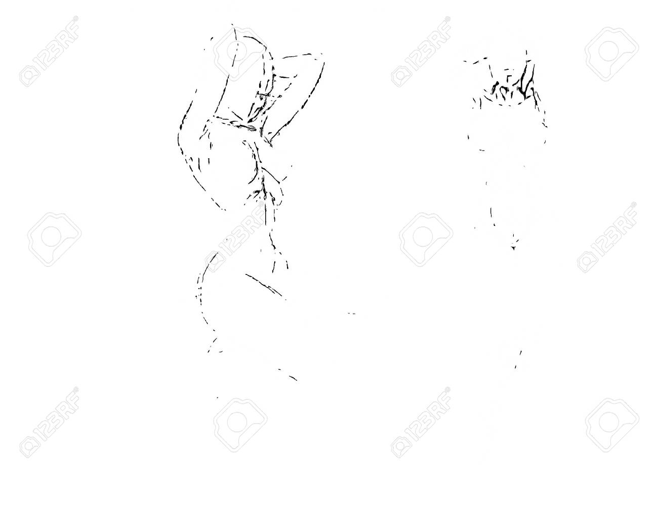 Tutorial Of Drawing A Female Body Drawing The Human Body Step Stock Photo Picture And Royalty Free Image Image 147861630