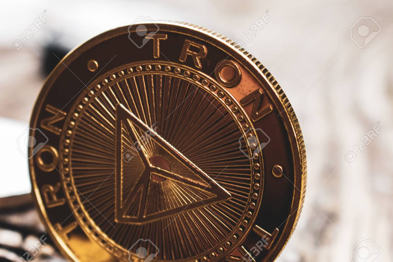 Golden coin Tron TRX