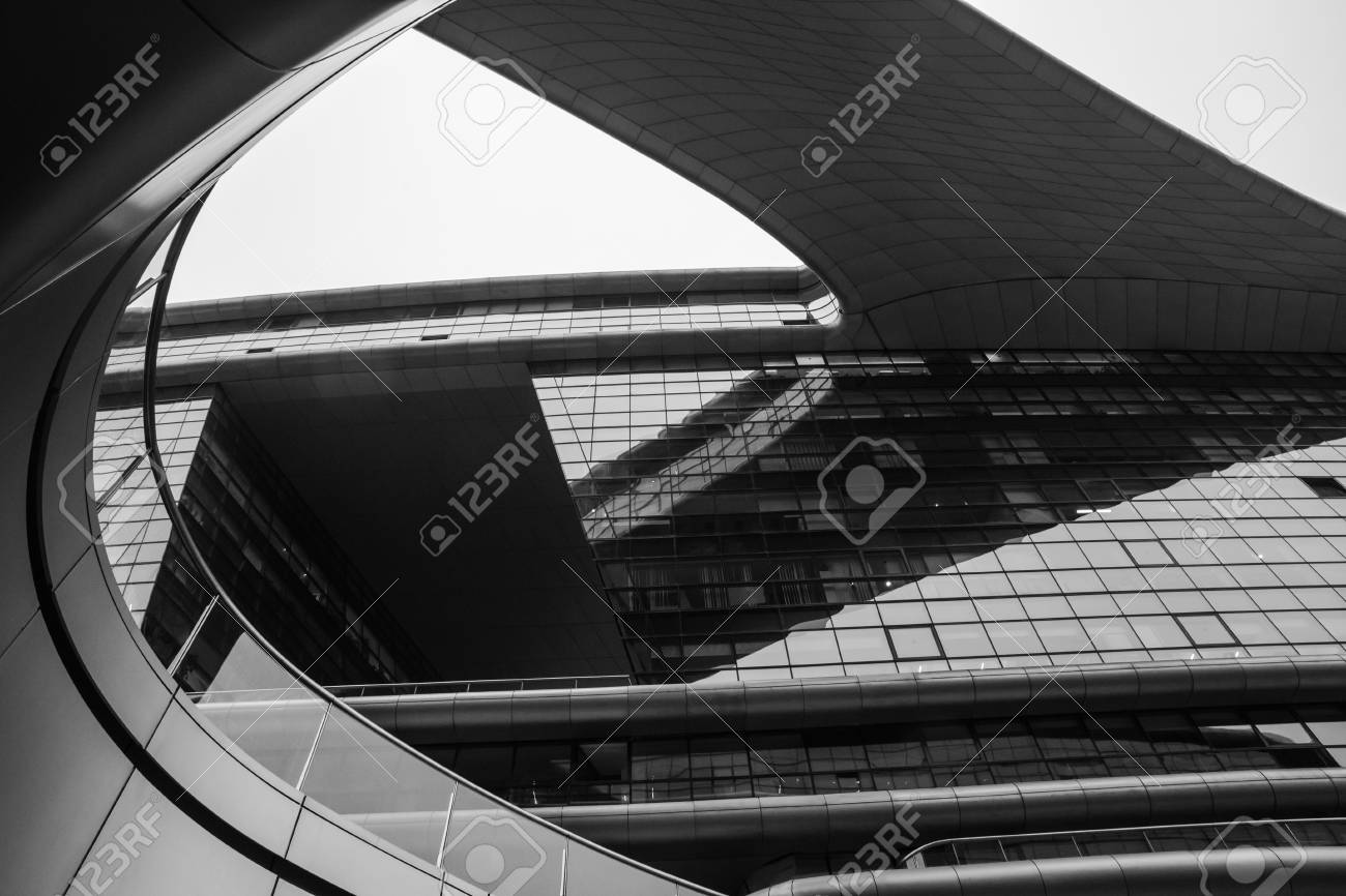 Abstract closeup black and white photo of modern shape architecture detail bionic facade