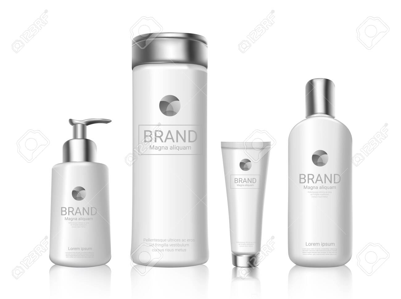 White cosmetics bottles with brand package design mockup - 138079575