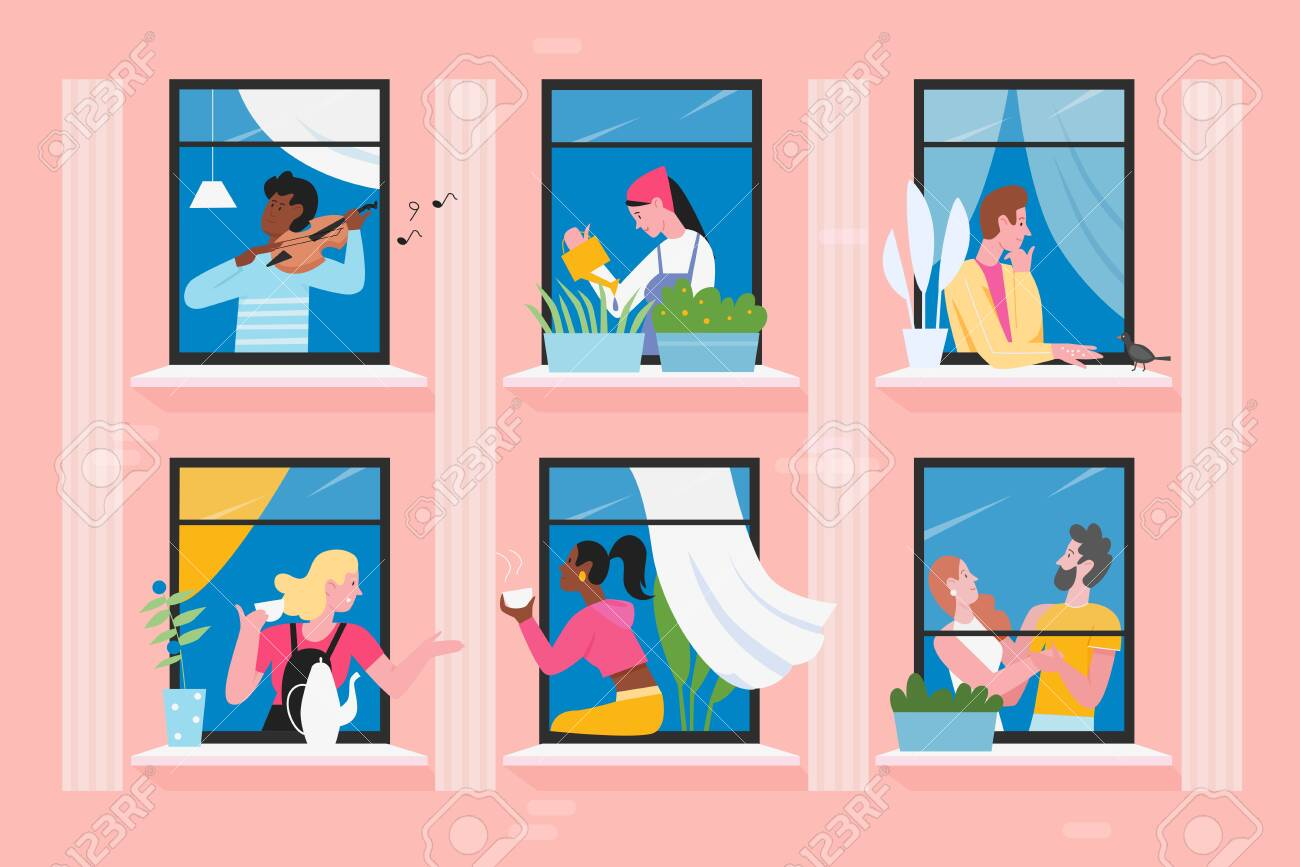 Neighbors people in house windows vector illustration. Cartoon flat man woman characters communicate, play violin, feed birds. Daily activity in neighboring home apartments, building facade background - 148505274