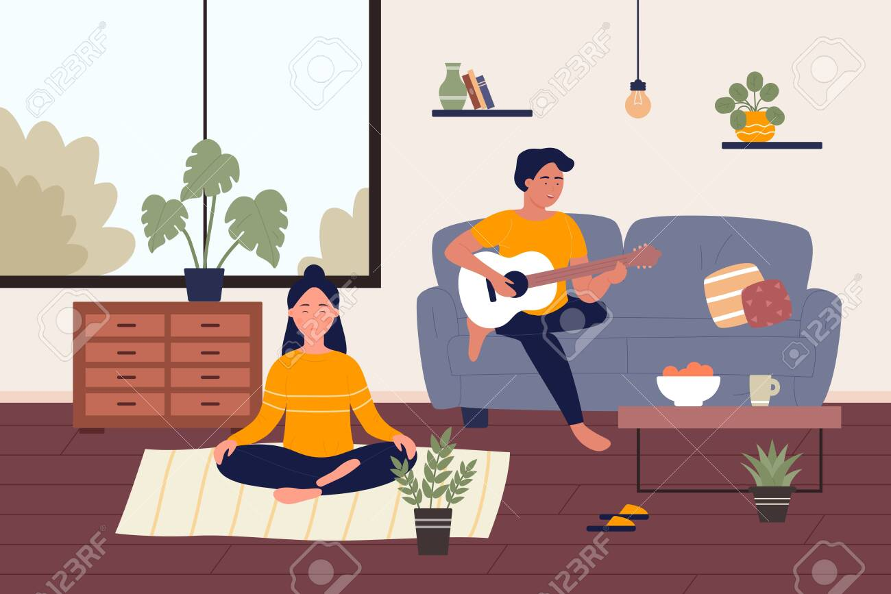 Home weekend flat vector illustration. Cartoon happy young couple people spend weekend time at home together, girl character relaxing, doing yoga meditating, guy playing music on guitar background - 154910570