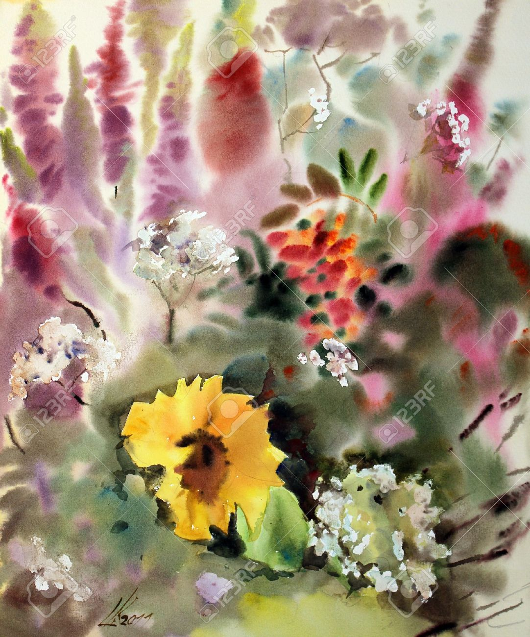 Watercolor painting of the beautiful flowers stock photo picture watercolor painting of the beautiful flowers stock photo 11474507 izmirmasajfo Image collections