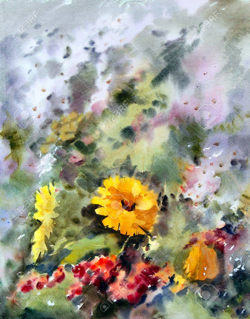 Watercolor Painting Of The Beautiful Flowers Stock Photo Picture