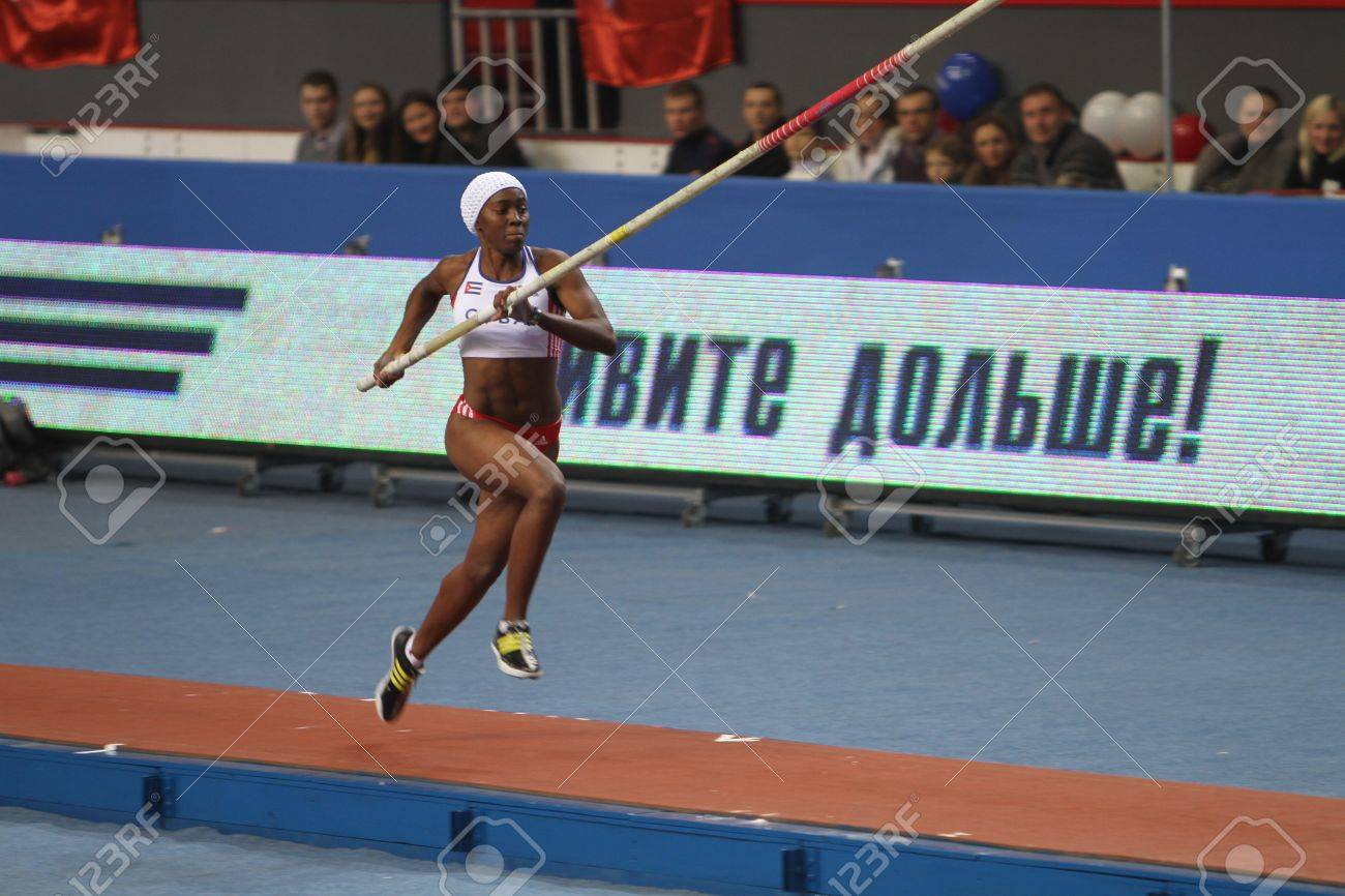 DONETSK,UKRAINE-FEB 11  Yarisley Silva - Cuban pole vaulter wins second place in the pole vault competition on Samsung Pole Vault Stars meeting on February 11, 2012 in Donetsk, Ukraine   Stock Photo - 12848634