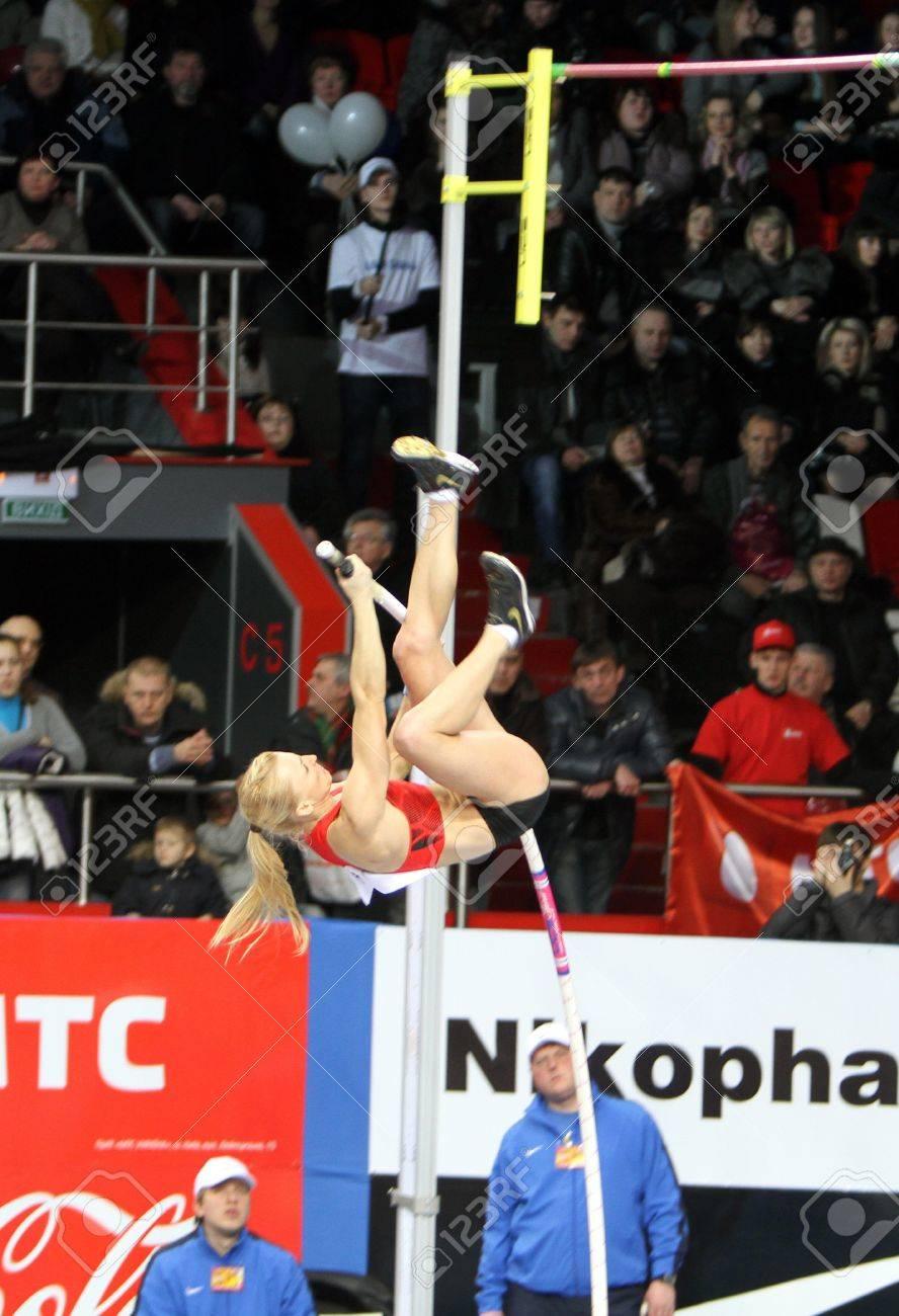 DONETSK,UKRAINE-FEB 11  Rogowska Anna - Polish pole vaulter, bronze medalist of Olympic Games in Beijing in 2008 compete on Samsung Pole Vault Stars meeting on February 11, 2012 in Donetsk, Ukraine   Stock Photo - 12848640