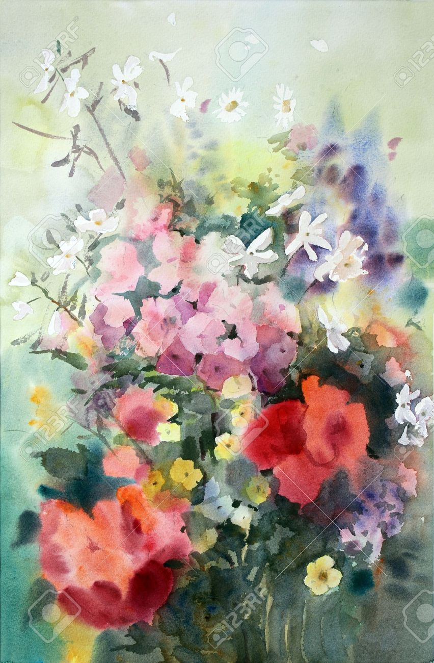 Watercolor painting of the beautiful flowers stock photo picture stock photo watercolor painting of the beautiful flowers izmirmasajfo Image collections