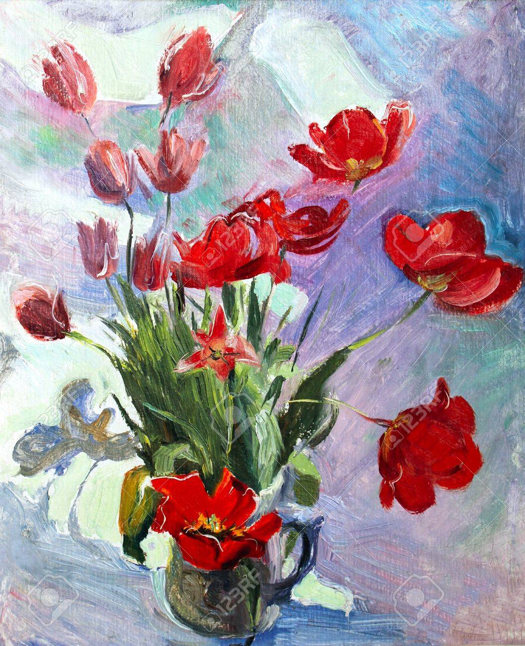 Oil painting of the beautiful flowers stock photo picture and oil painting of the beautiful flowers stock photo 13500212 izmirmasajfo Image collections