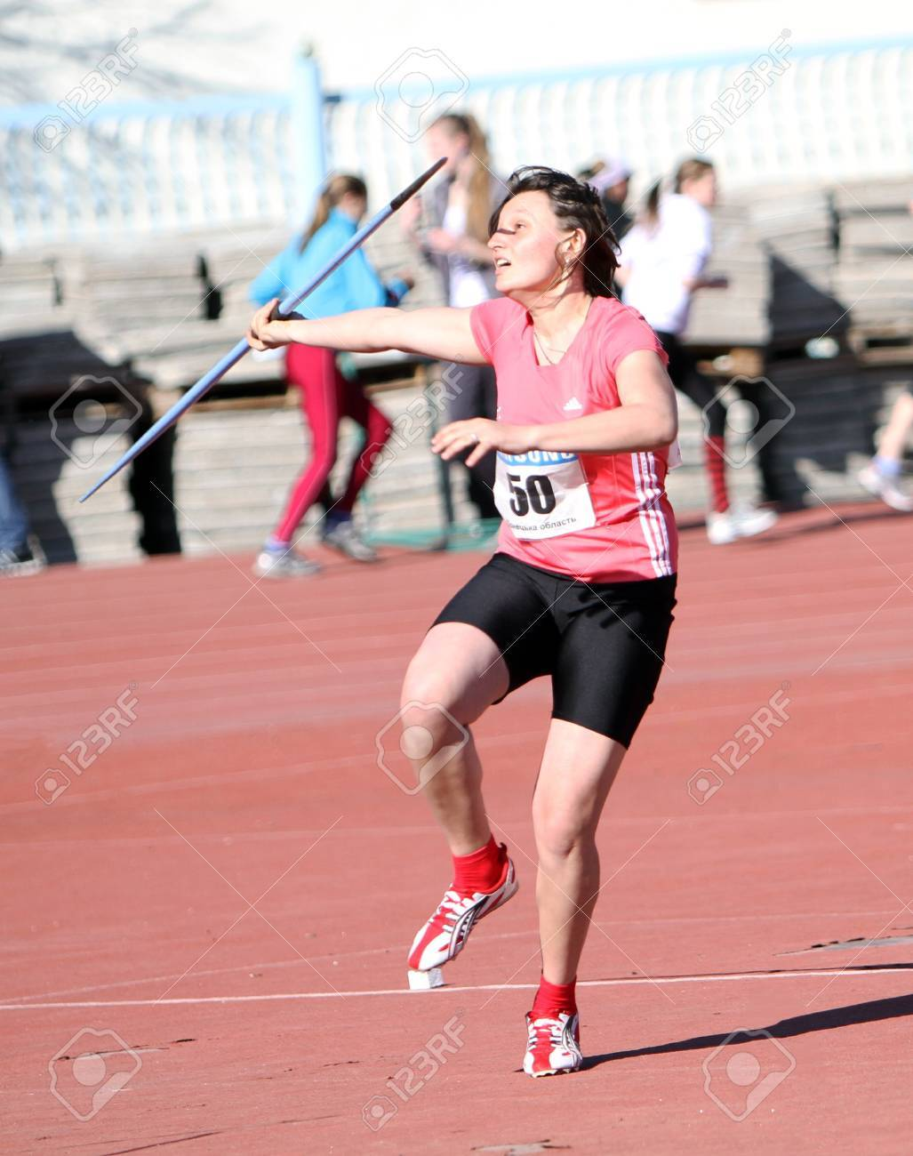 YALTA, UKRAINE - APRIL 25  Savchenko Natalia compete in the javelin throw competition for girls age 16-17 on Ukrainian Junior Track and Field Championships on April 25, 2012 in Yalta, Ukraine   Stock Photo - 13581109