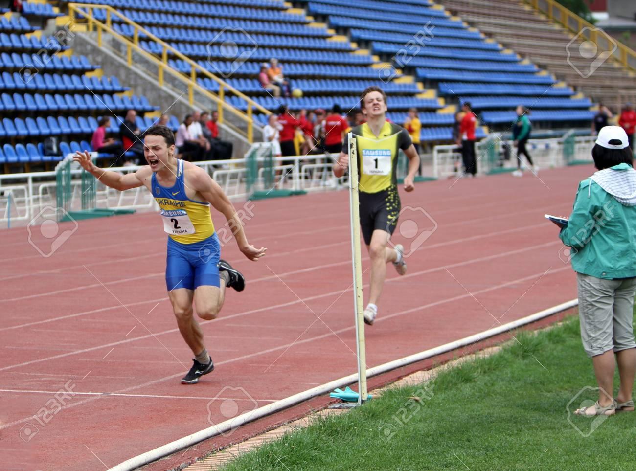 Yalta, Ukraine - May 25  athletes on the international athletic meet between UKRAINE, TURKEY and BELARUS on May 25, 2012 in Yalta, Ukraine  Stock Photo - 13796026