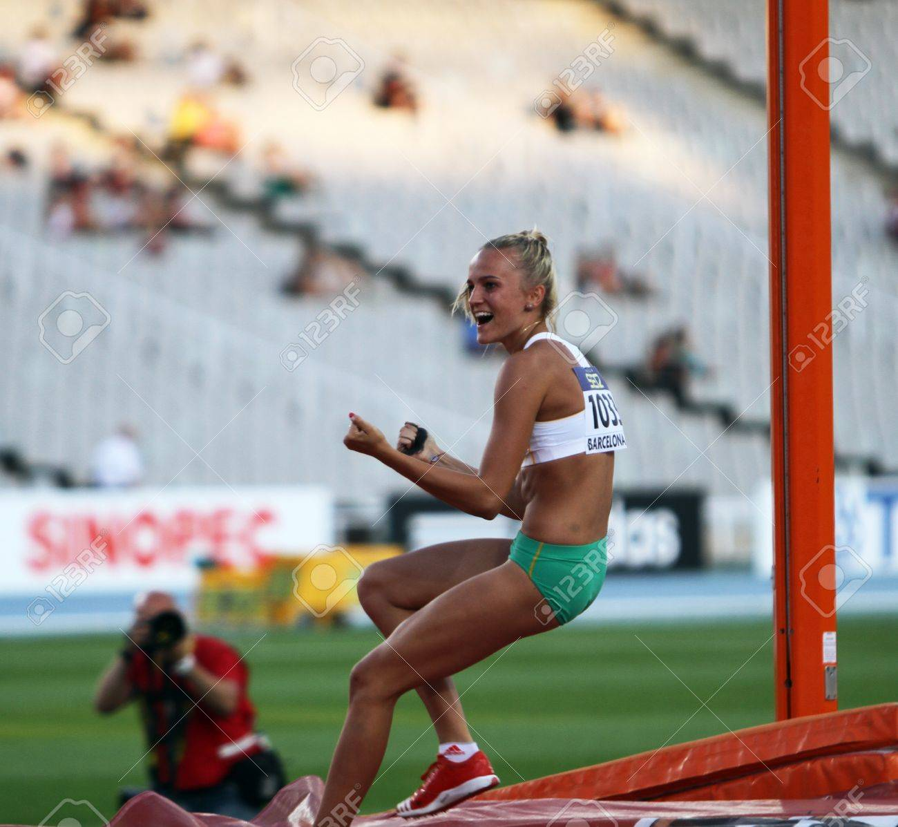 BARCELONA, SPAIN - JULY 14  Liz Parnov from Australia celebrates silver medal in pole vault competition on the 2012 IAAF World Junior Athletics Championships on July 14, 2012 in Barcelona, Spain Stock Photo - 14963704