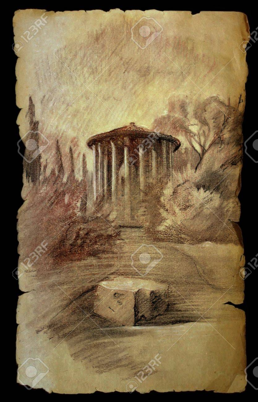 Old Paper Temple RomeItaly On In Painted The Of Isolated Vesta R34Aj5qL