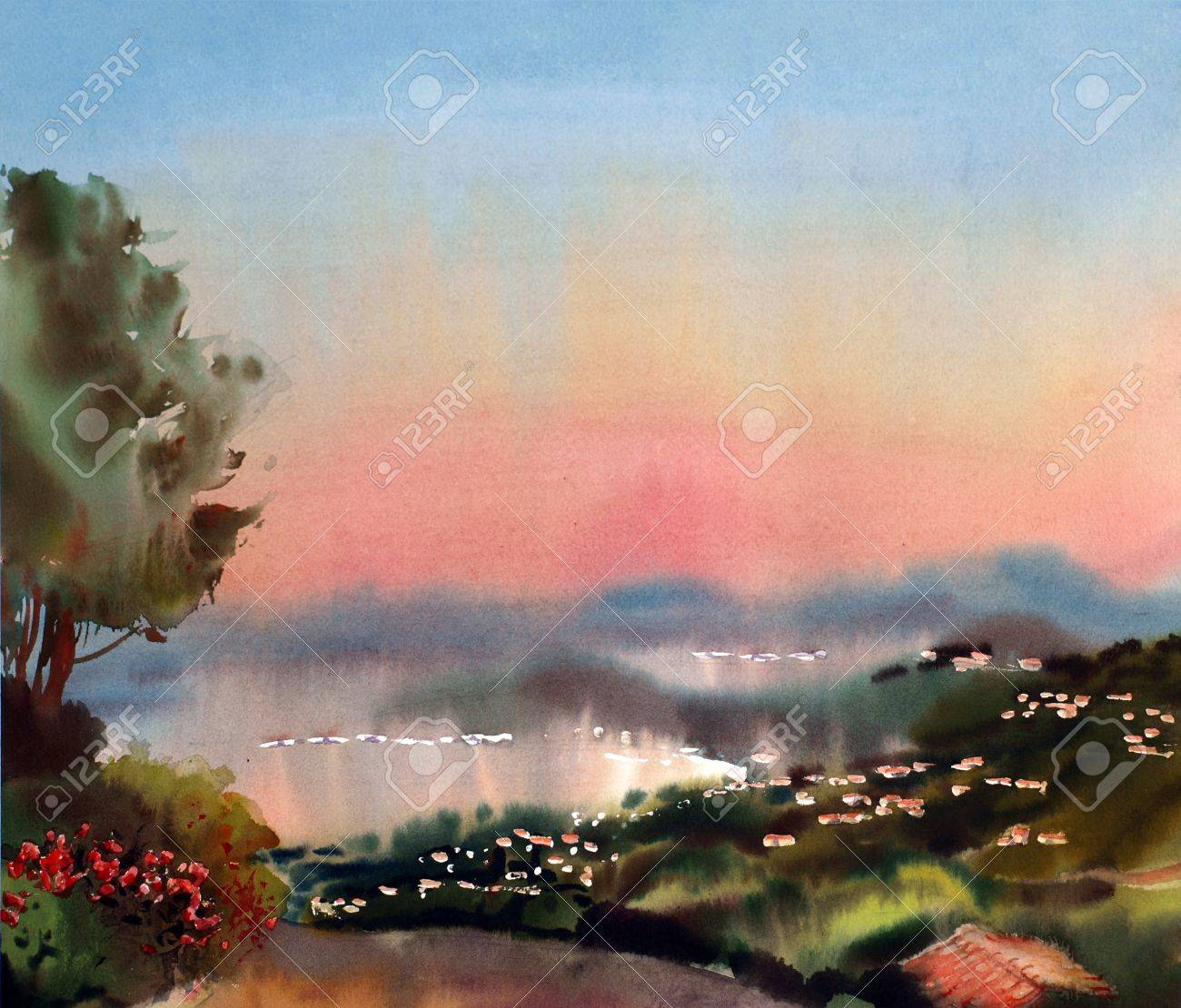 Watercolor Painting Landscape Of Sunset In The Cote DAzur France Stock Photo