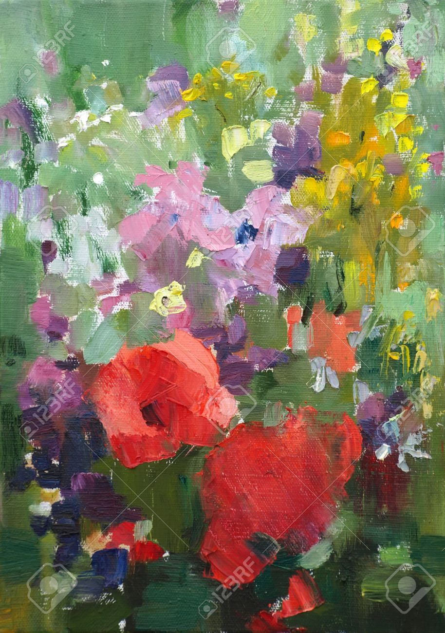 Oil Painting Of The Beautiful Flowers Stock Photo Picture And