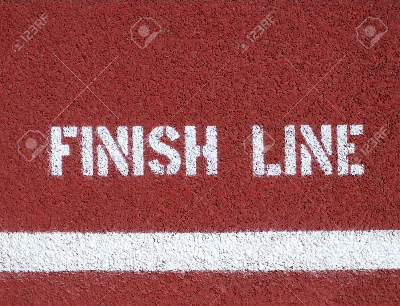 Finish line - sign on the running track Standard-Bild - 25159358