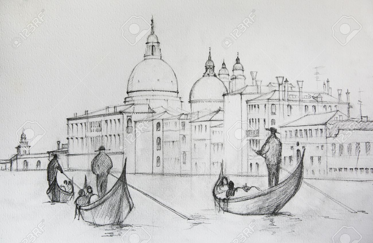 Painting of venice italy painted by pencil