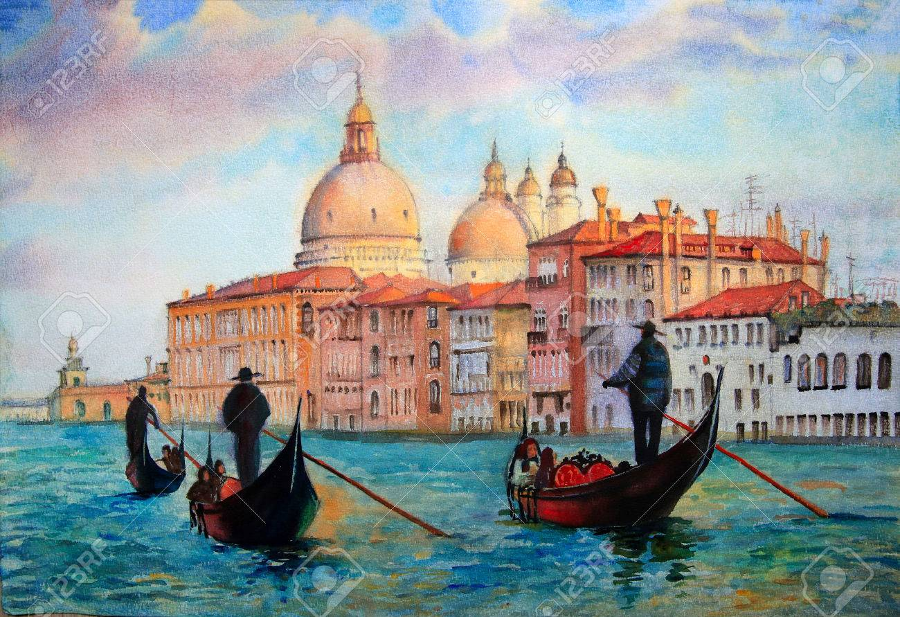 Painting of Venice Italy, painted by watercolor Standard-Bild - 42781320