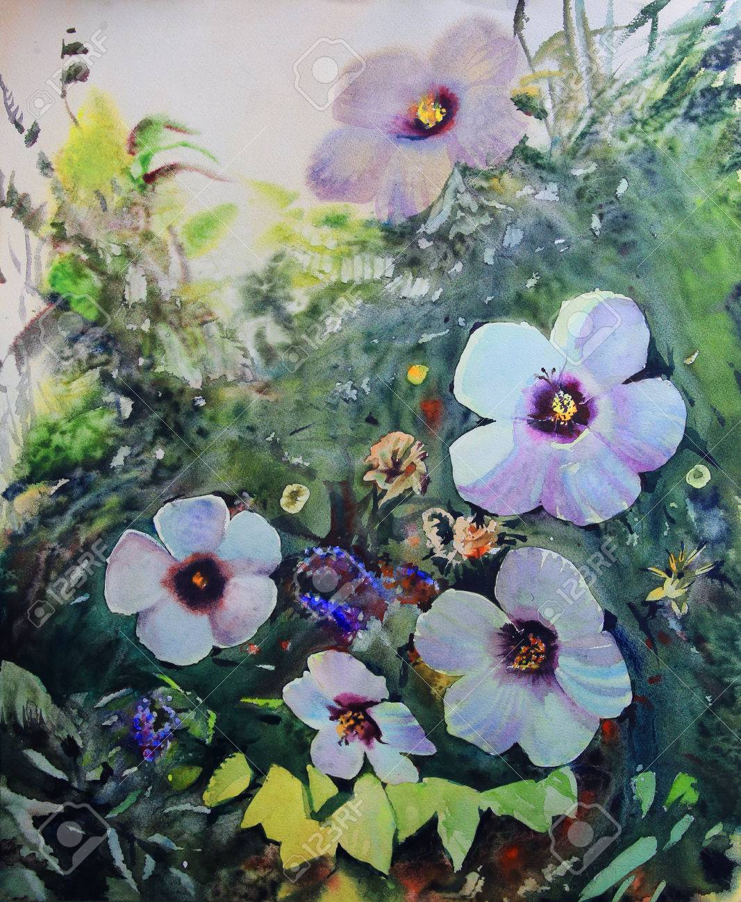 Watercolor painting of the beautiful flowers stock photo picture stock photo watercolor painting of the beautiful flowers izmirmasajfo