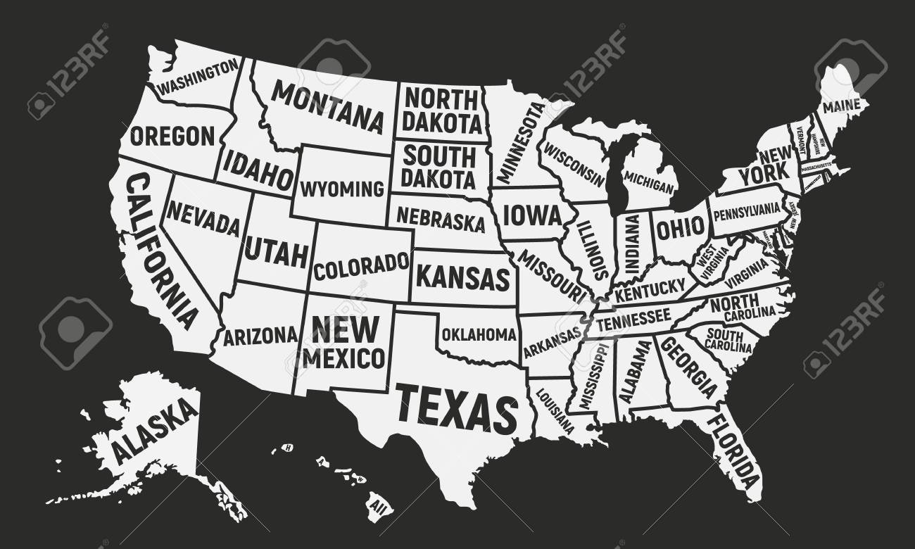 Poster map of USA with state names. United States of America..