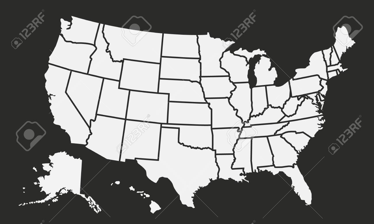 Usa Map Black.Usa Map Isolated On A Black Background United States Of America