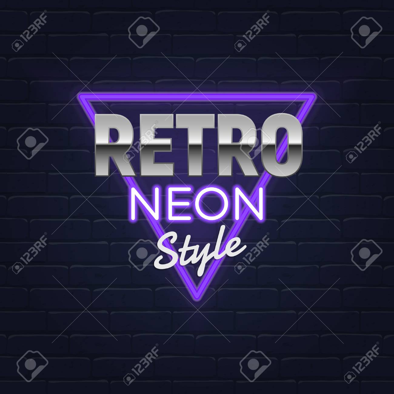 Retro neon banner  Realistic Neon sign  Light banner, frame