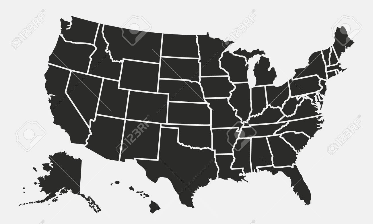 United States Of America Map Images.Usa Map With States Isolated On A White Background United States