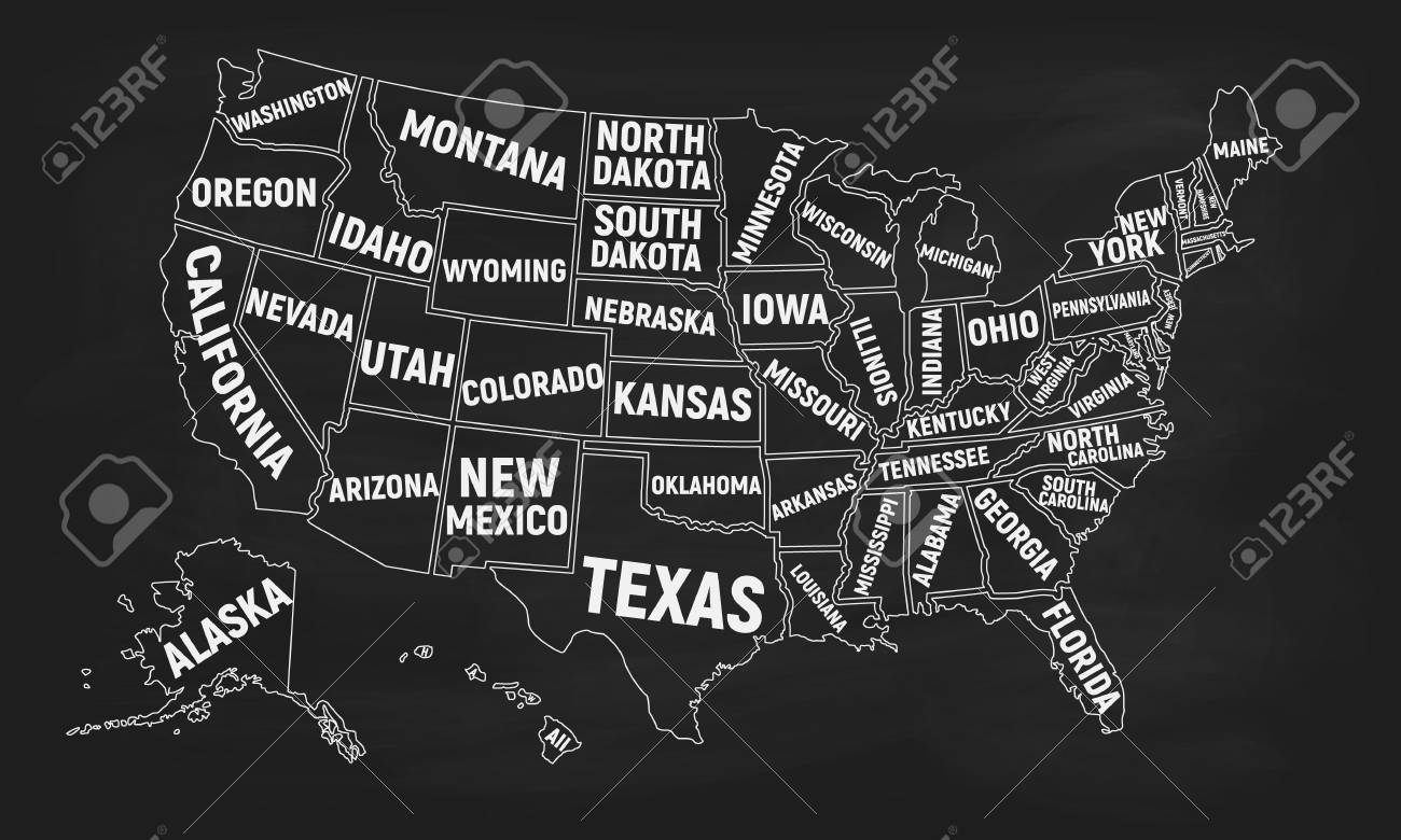 United States Of America Map Isolated On A Chalkboard Poster