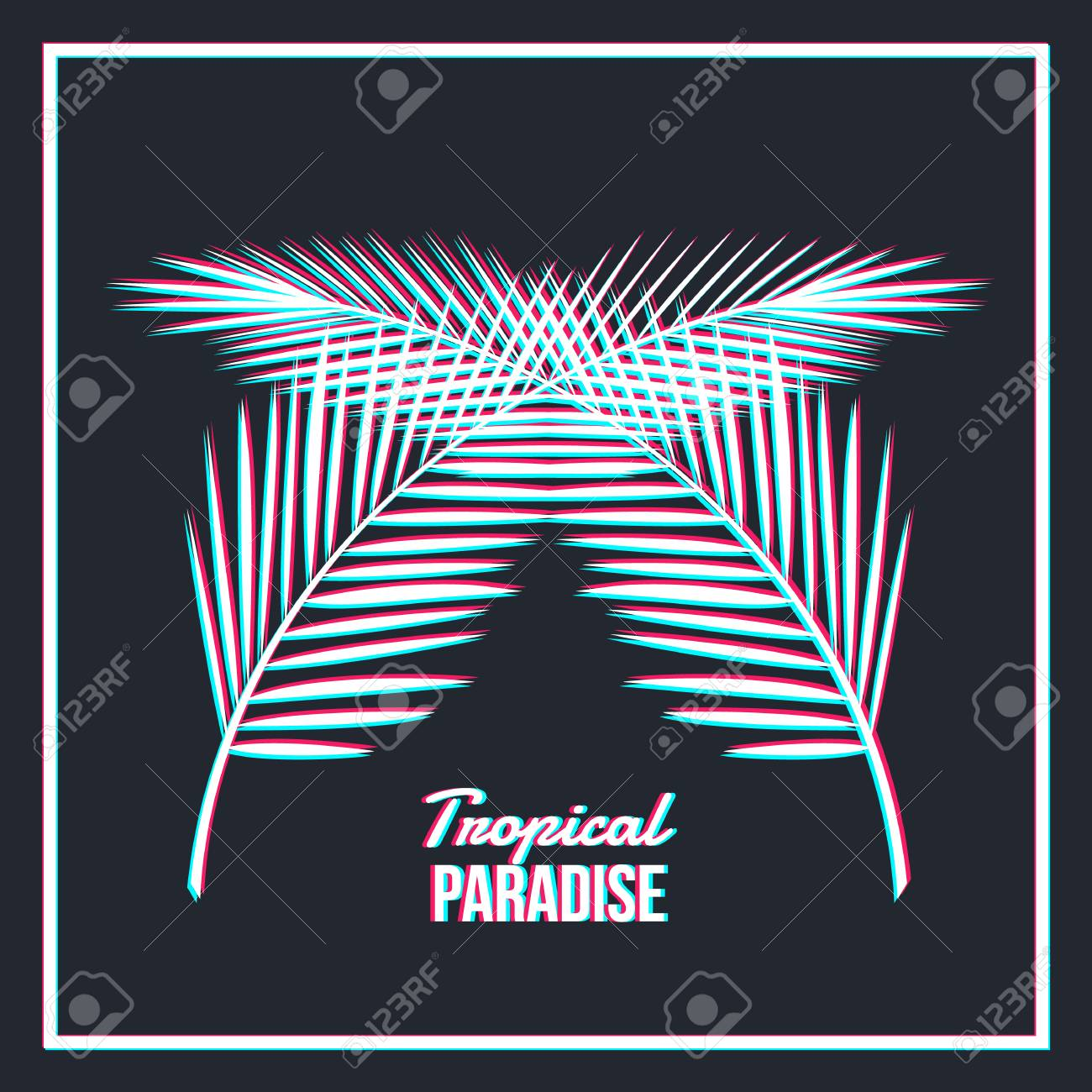 e9e60615d Tropical Paradise - palm leaves with glitch isolated on black background.  Trendy Vector illustration Stock