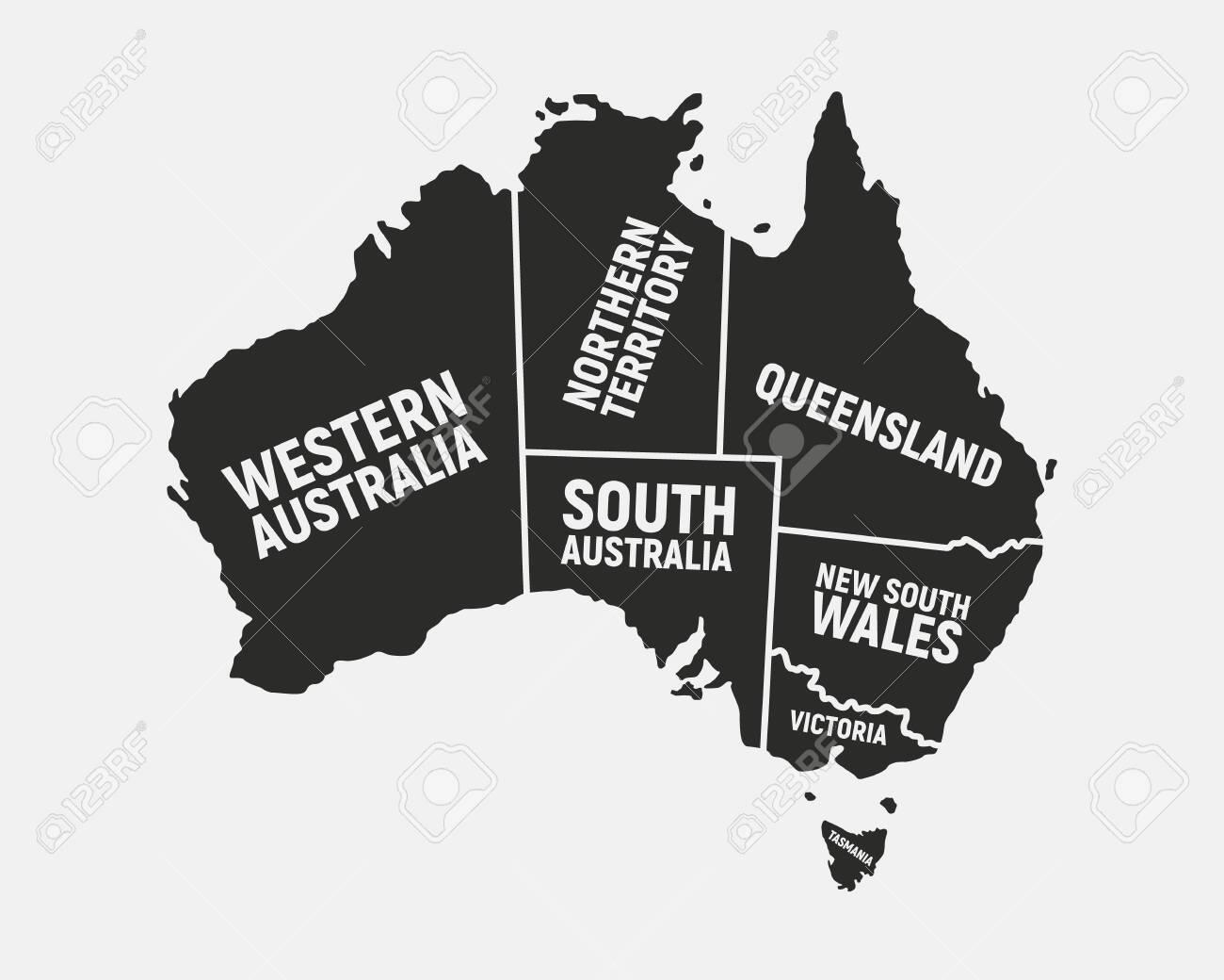 Free Map Of Australia To Print.Australia Poster Map With States Names Australian Background