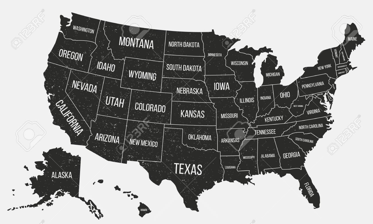 Image of: Usa Poster Map With State Names United States Of America Map Royalty Free Cliparts Vectors And Stock Illustration Image 119144335
