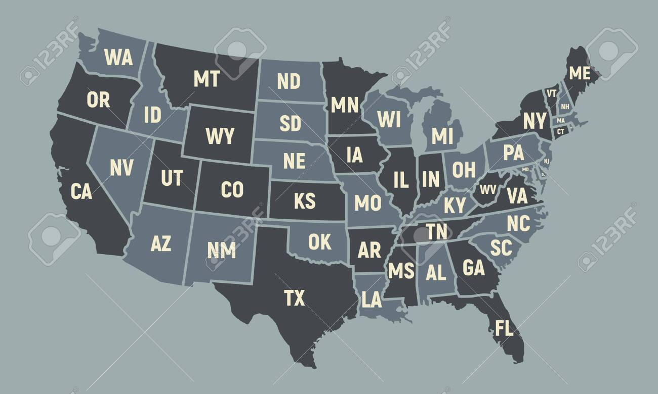 United States of America map with short state names. USA poster..