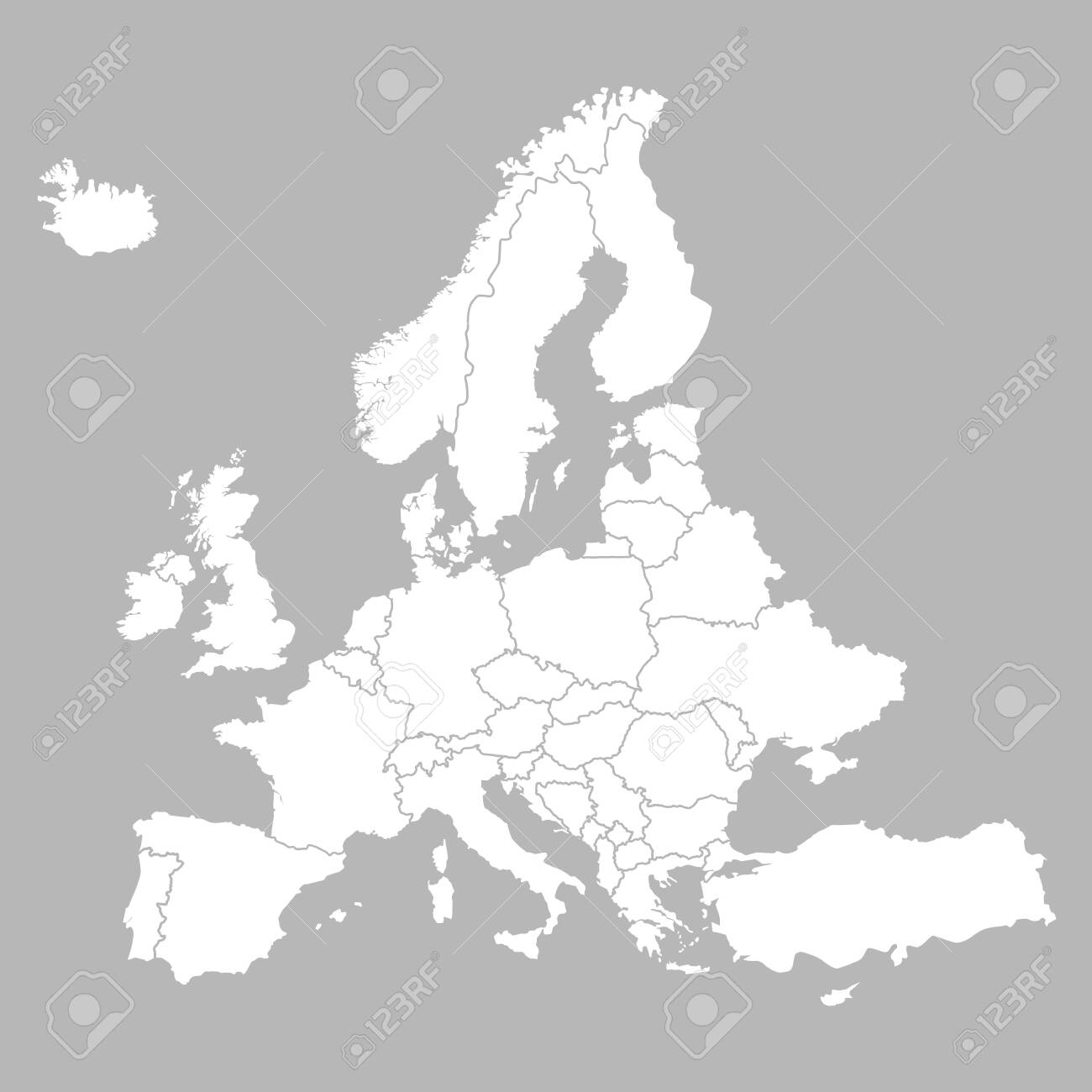 Picture of: Europe Blank Map With Countries Europe White Map Isolated On Royalty Free Cliparts Vectors And Stock Illustration Image 128957569