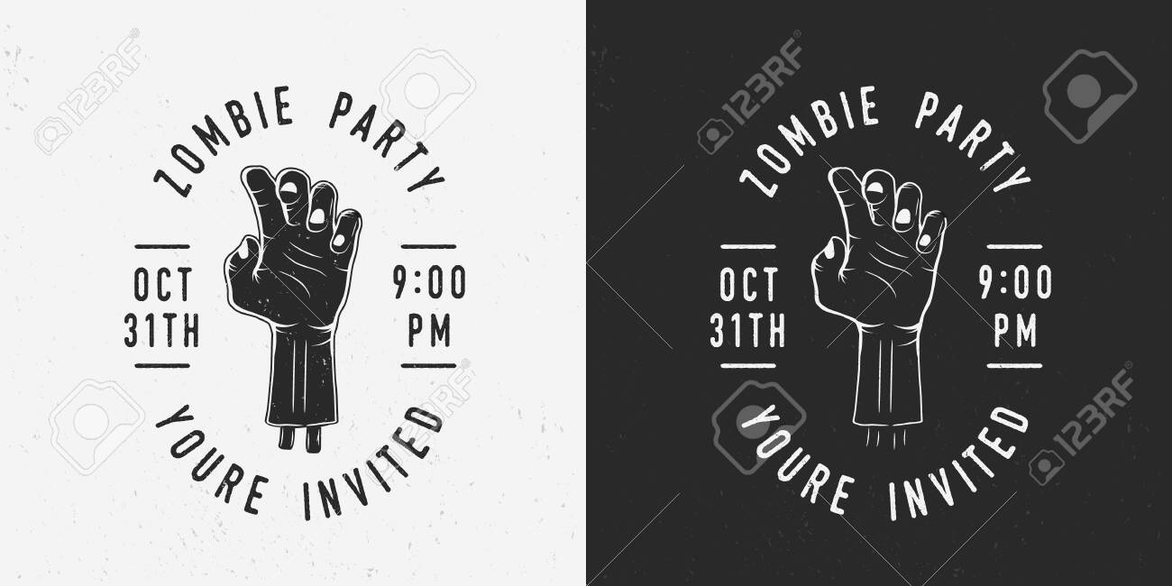 Zombie Party Badge Label Logo Hand Of Zombie With Text Vintage