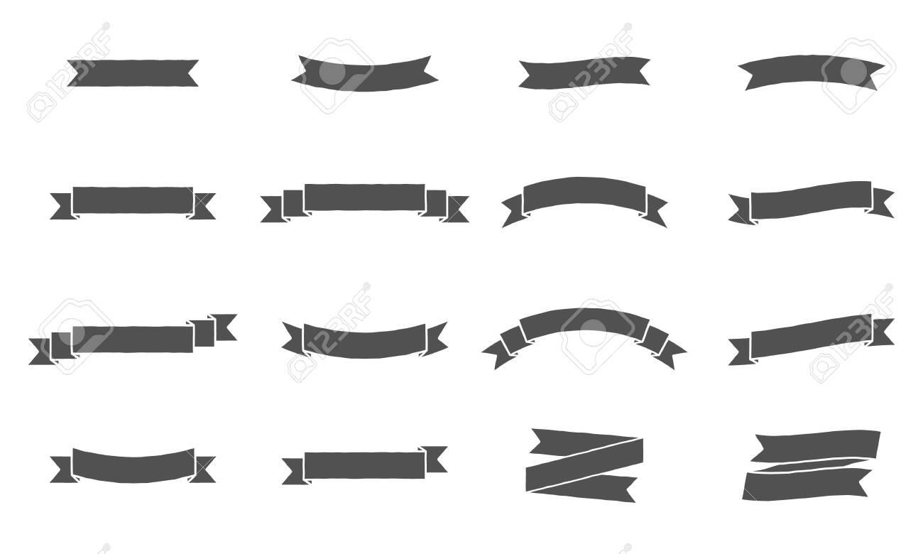 Vector ribbon banners. Vintage design of ribbon banners. Set of 16 gray ribbons banners. - 137036295