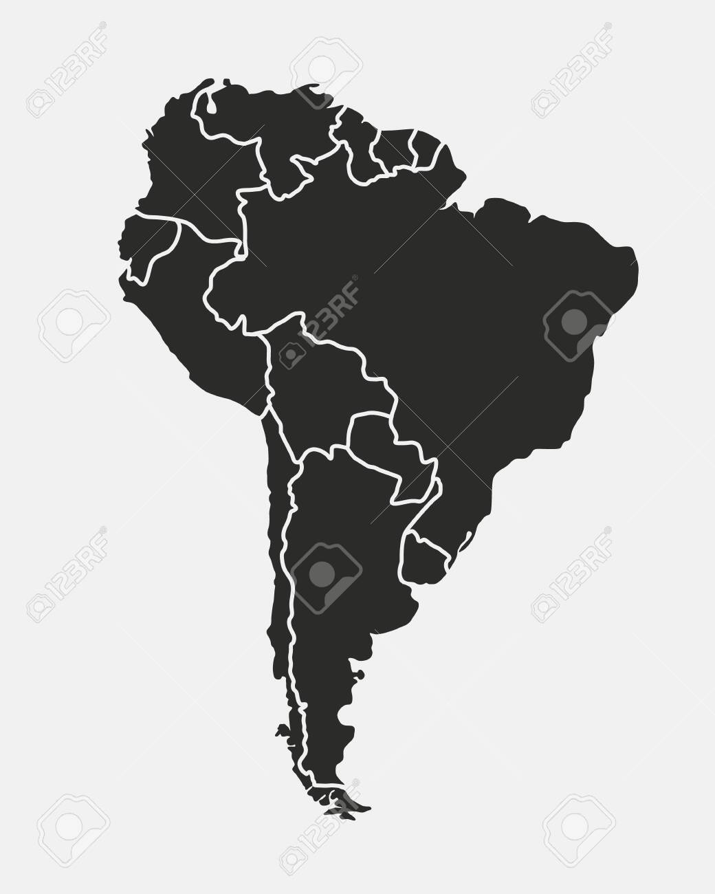 South America map isolated on a white background. Latin America background. Map of South America with regions. Vector illustration - 149690045