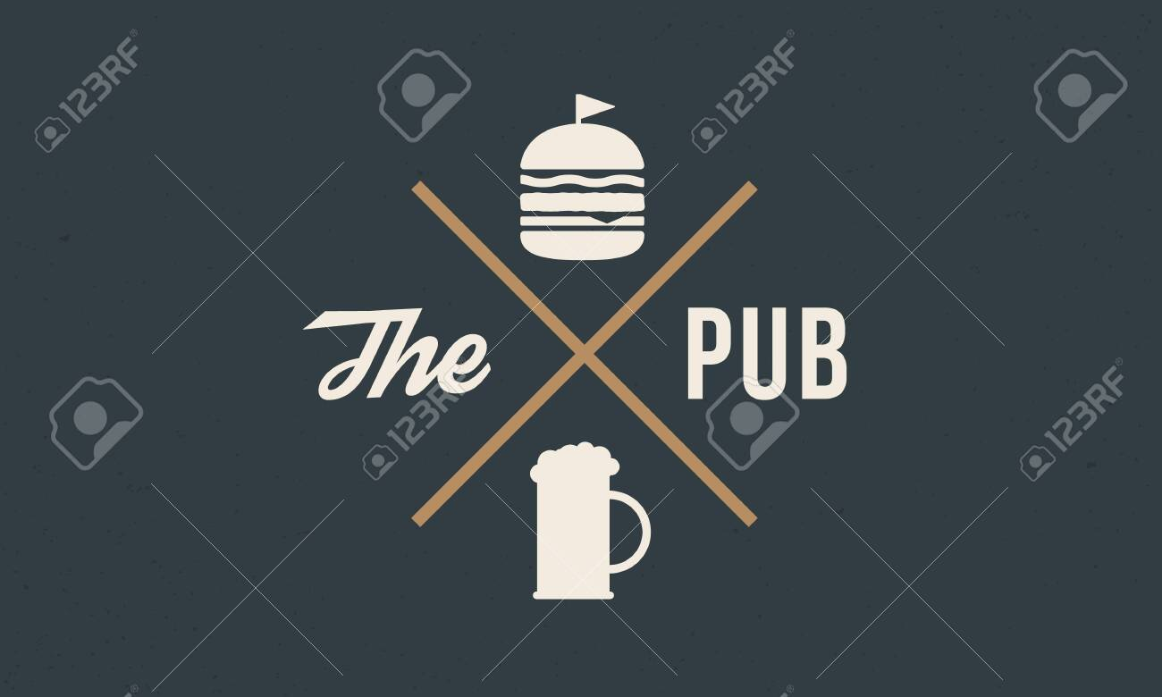 Vintage Logo Design For Pub Bar Label With Beer And Burger Royalty Free Cliparts Vectors And Stock Illustration Image 149690103