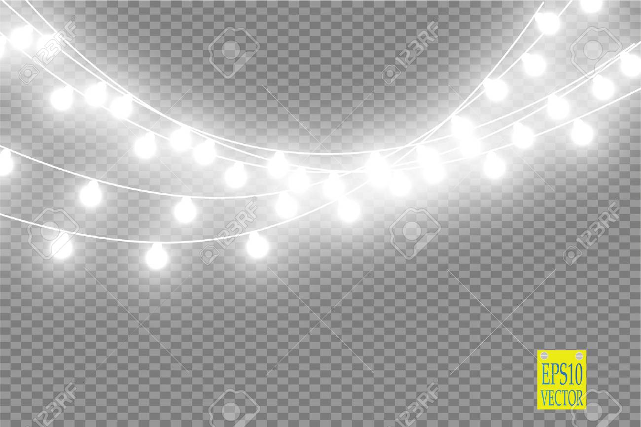 Christmas Lights Transparent Background.Stock Illustration