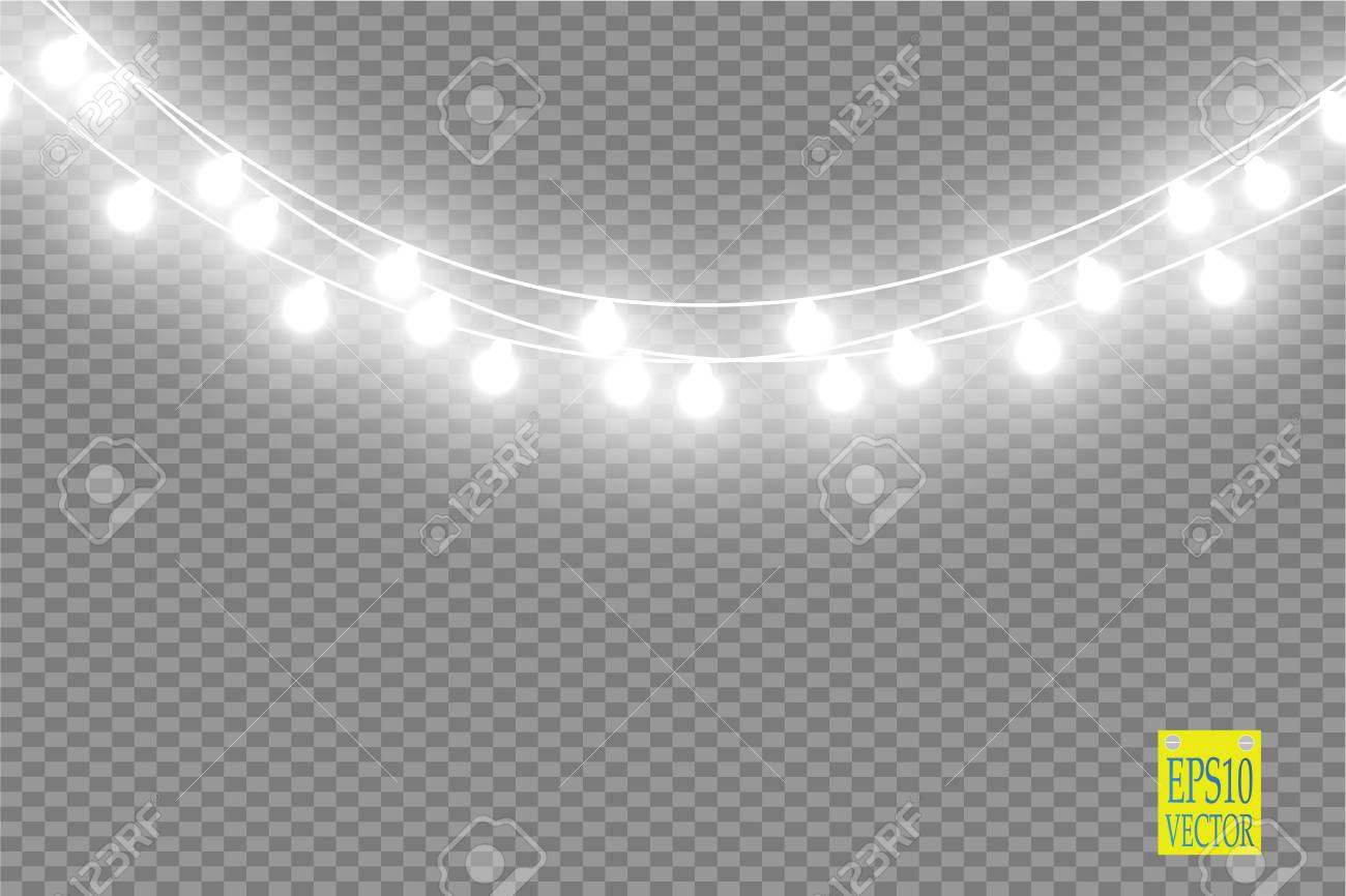 Christmas Lights Transparent Background.Christmas Lights Isolated On Transparent Background Xmas Glowing