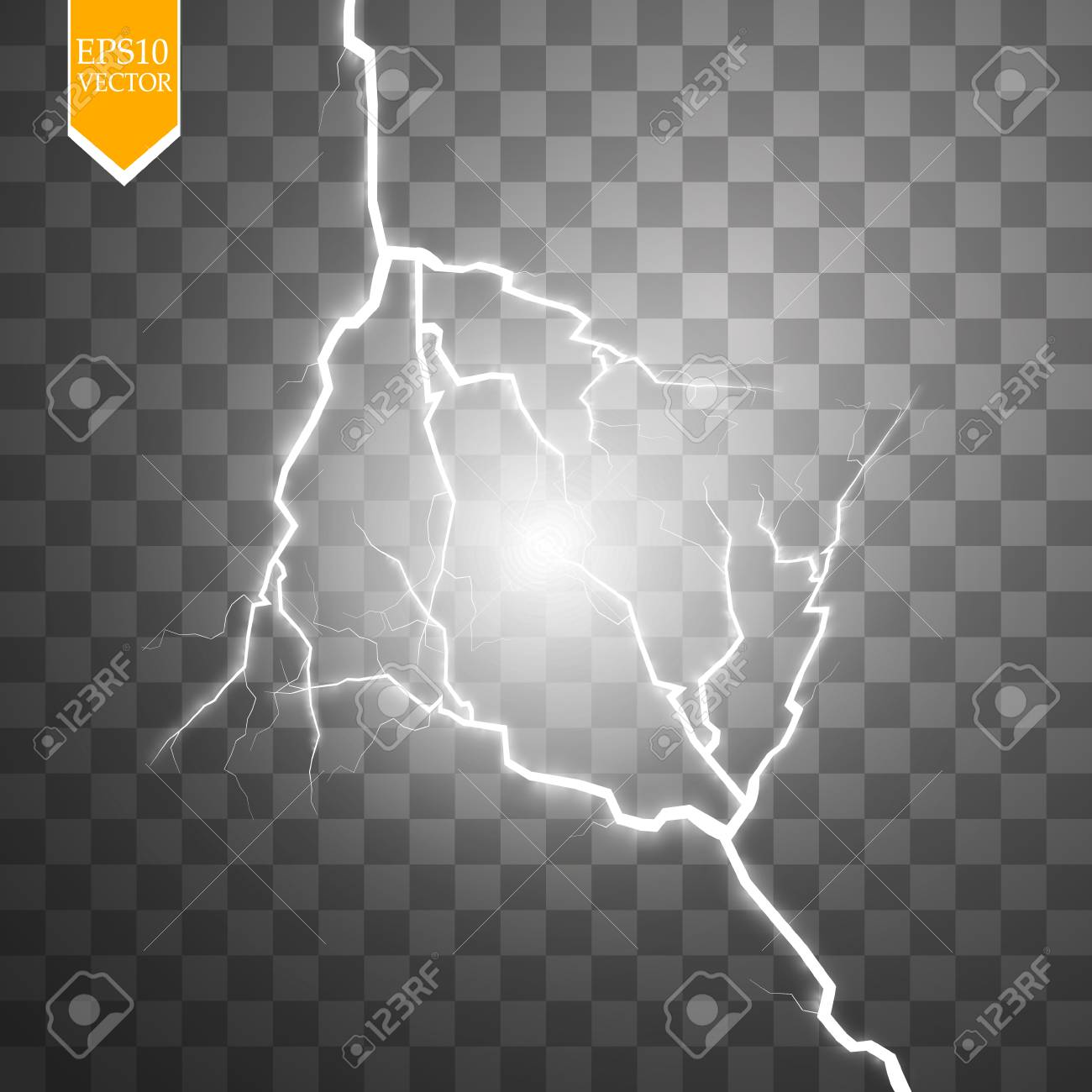 Vector Electric Lightning Bolt Energy Effect Bright Light Flare