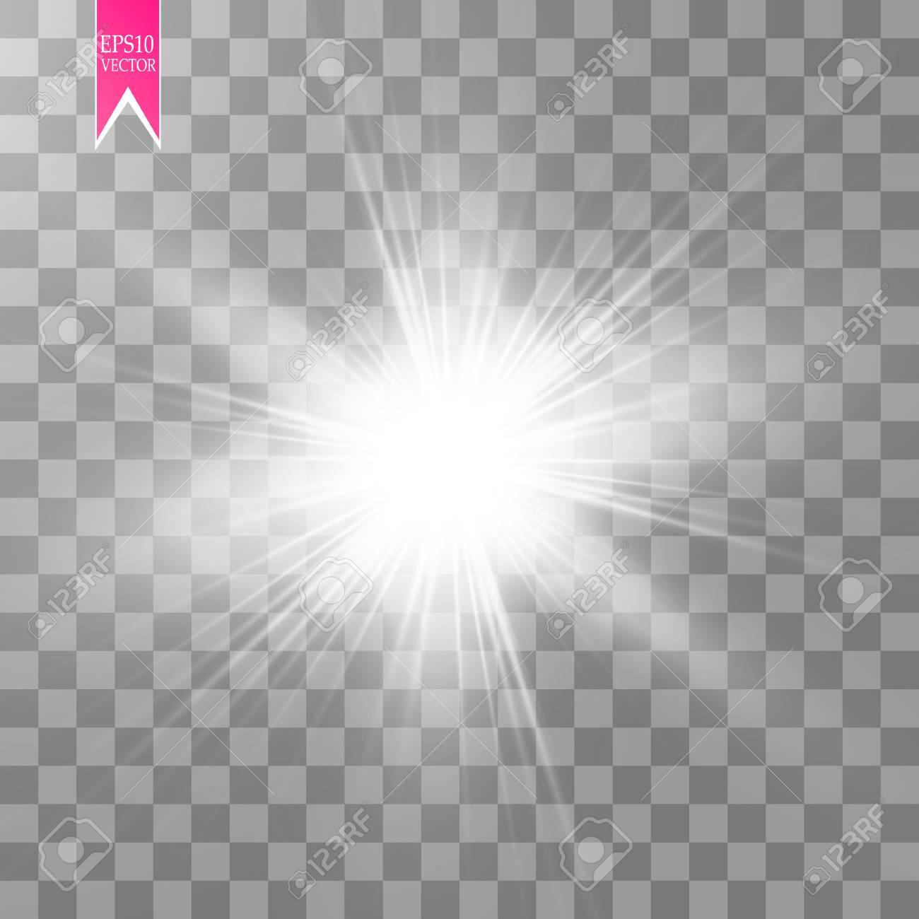 Glow light effect. Starburst with sparkles on transparent background. Vector illustration. - 98178802