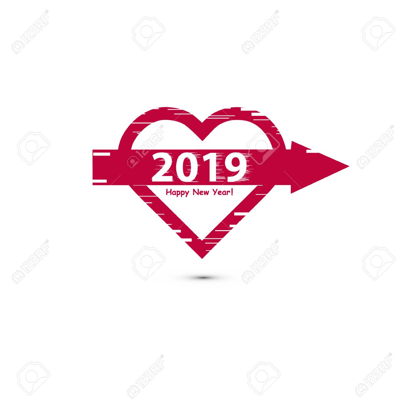 creative happy new year 2019 design flat design with line art heart icon with