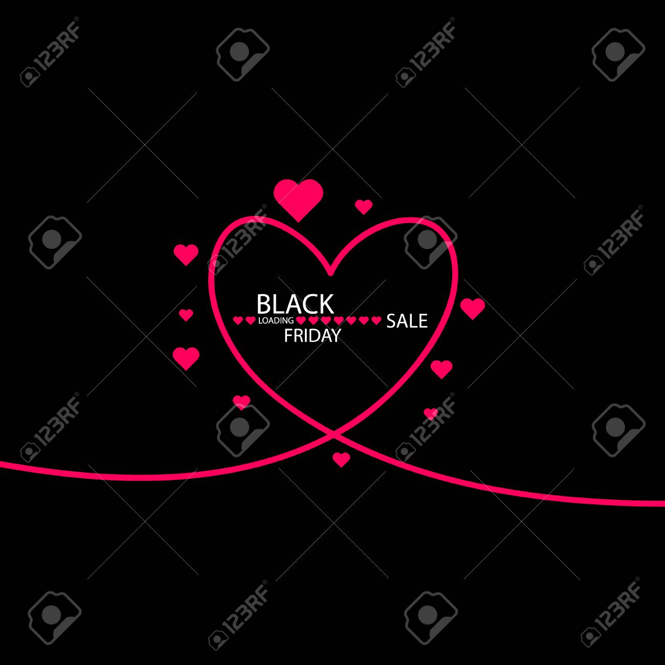 Illustration Of An Isolated Line Art Heart Icon With The Text BLACK FRIDAY Standard Bild