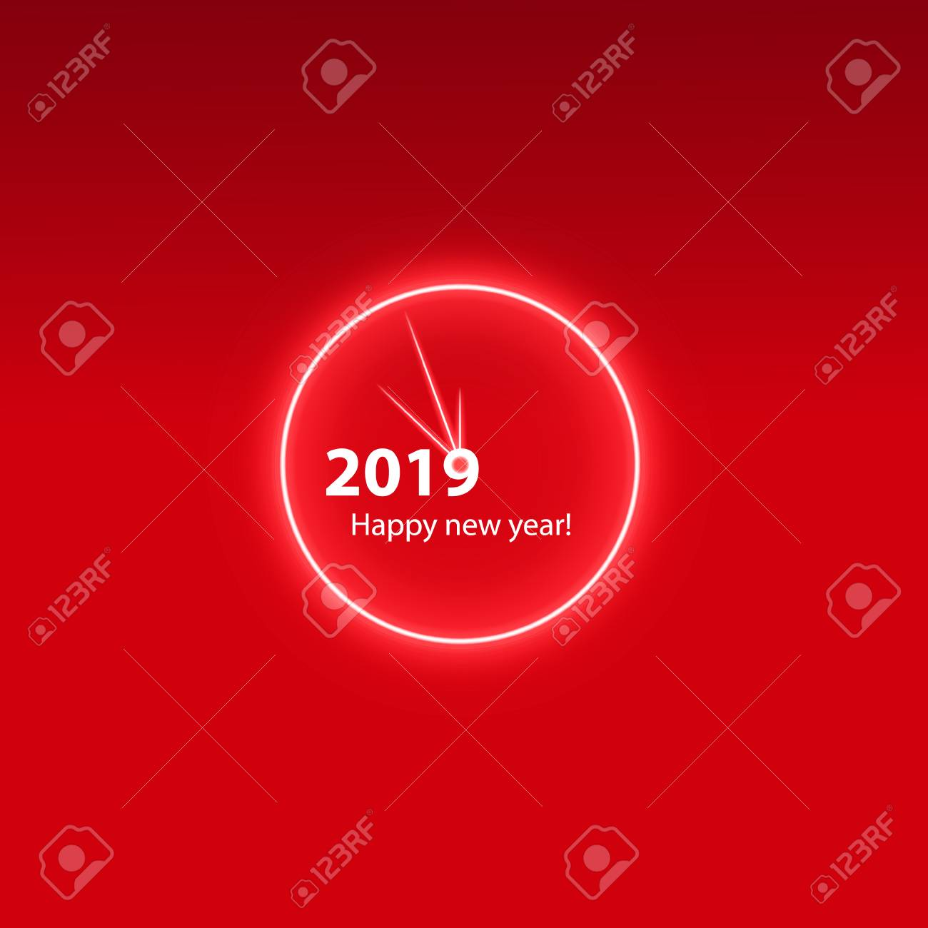 christmas party poster with a glowing magical clock happy 2019 new year flyer greeting
