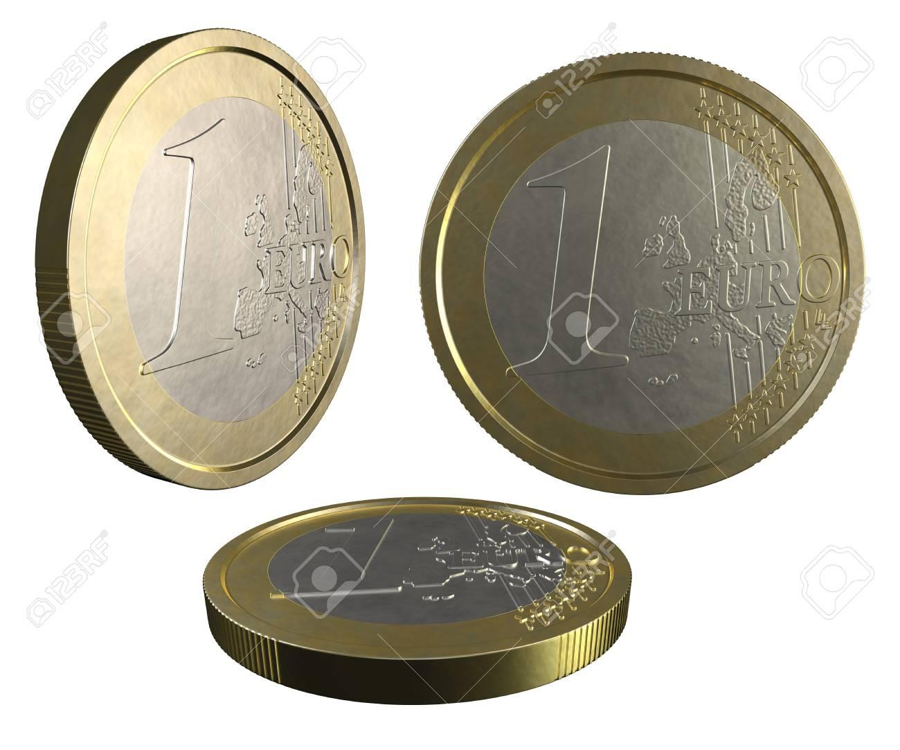 One EURO coin on white background Stock Photo - 12295399