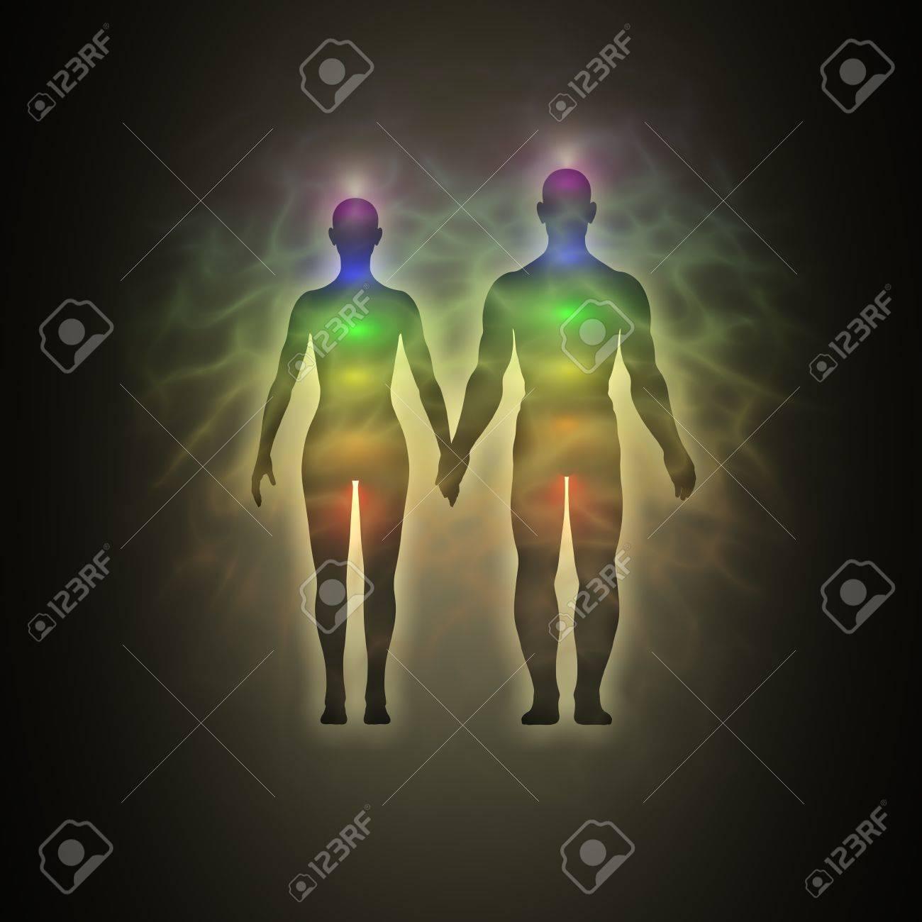 Woman and man energy body, aura, chakras, energy, silhouette Stock Photo - 12295445